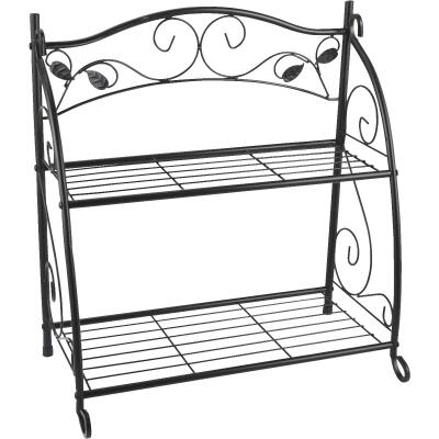 Best Garden Black Powder-Coat Steel 24 In. H. 2-Shelf Indoor/Outdoor Plant Stand