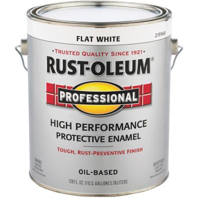 Rust-Oleum Professional Oil Based Flat Protective Rust Control Enamel, White, 1 Gal.