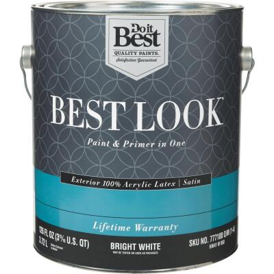 Best Look 100% Acrylic Latex Paint & Primer In One Satin Exterior House Paint, Bright White, 1 Gal.