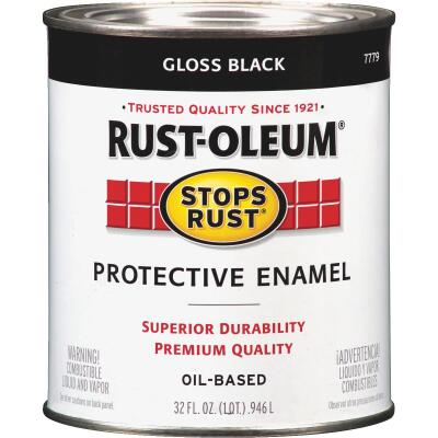 Rust-Oleum Stops Rust Oil Based Gloss Protective Rust Control Enamel, Black, 1 Qt.