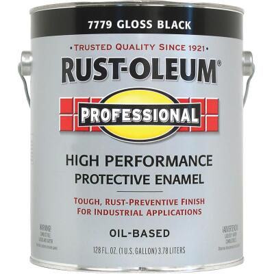 Rust-Oleum Professional Oil Based Gloss Protective Rust Control Enamel, Black, 1 Gal.