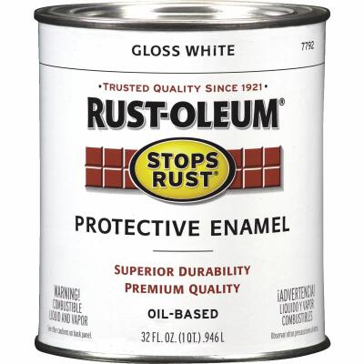 Rust-Oleum Stops Rust Oil Based Gloss Protective Rust Control Enamel, White, 1 Qt.