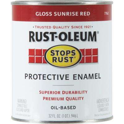 Rust-Oleum Stops Rust Oil Based Gloss Protective Rust Control Enamel, Sunrise Red, 1 Qt.